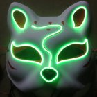 Half-Faced LED Light Emitting Japanese styel Mask for Halloween Dress up Party Dance 16X18CM Fluorescent green
