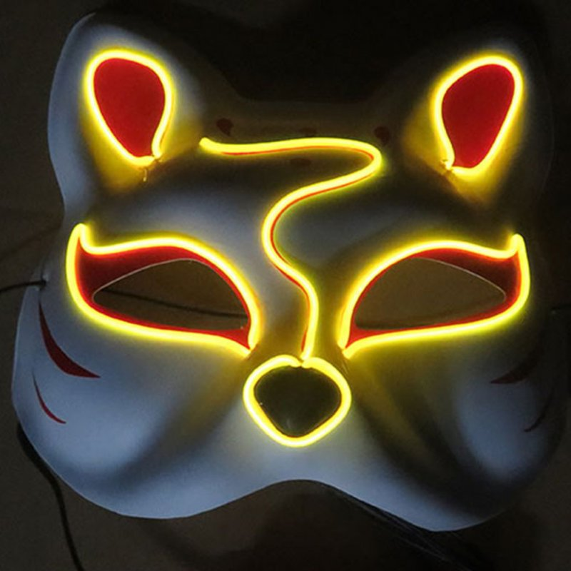 Half-Faced LED Light Emitting Japanese styel Mask for Halloween Dress up Party Dance 16X18CM yellow