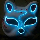 Half-Faced LED Light Emitting Japanese styel Mask for Halloween Dress up Party Dance 16X18CM Ice blue