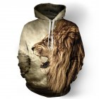 Halloween 3D Lion Printed Hoodie Cool Animal Hooded Swearshirt Men Women Pullover Yellow lion XL