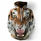 Halloween 3D Printed Tiger Hoodie Animal Cool Long Sleeve Hooded Pullover as shown_L