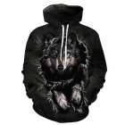 Halloween 3D Printed Wolf Hoodie Leisure Hooded Pullover Men/Women Sweatshirt black wolf_XXL