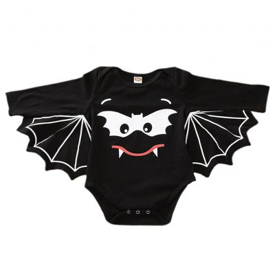 Halloween Baby Boy and Girl Bat Printed Wing Sleeves Jumpsuits black_80cm
