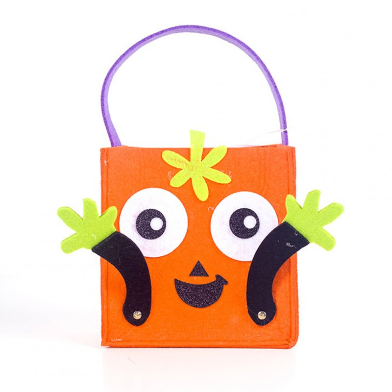 Halloween Candy Felt Holder Bag,Square Cartoon Gift Hand Bag,Halloween Kids Trick or Treating Bag 26*16CM C orange