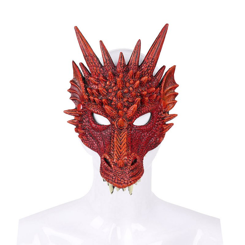 Halloween Carnival Party PU Foam 3D Animal Dragon Mask Red dragon mask