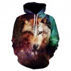 Halloween Christmas Men/Women 3D Colorful Wolf Print Hoodie Cool Hooded Pullover Sweatshirts WE-307_L