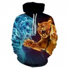 Halloween Christmas Men/Women 3D Print Hoodie Cool Ice and Fire Wolf Hooded Pullover Sweatshirts WE-233_S