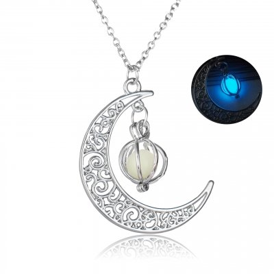 Halloween Decorations Gifts Ornaments Christmas Gifts Glowing Moon Pumpkin Creative Pendant Sky Blue Luminous Women Necklace
