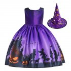 Halloween Girl Dress Pumpkin Castle Print Princess Dress Sleeveless Satin Print Child Dress WS001 purple  with hat  130cm
