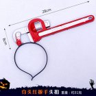 Halloween Headband Ghost Festival Kitchen Knife Shape Simulation Trick Headhoops Red wrench Shape