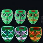 Halloween LED EL Wire Mouth Eye Sewing Mask Costume for Party Prop Fluorescent green