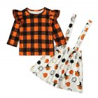 Halloween Lattice Top+Sling Dress Girl Outfit Pumpkin Decor Clothing Set Party Suits Orange CC01633_90 yards