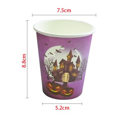 Halloween Party Decorated Table Setting Supplies Disposable Paper Plate Cup Tablecloth Set 10 paper cups