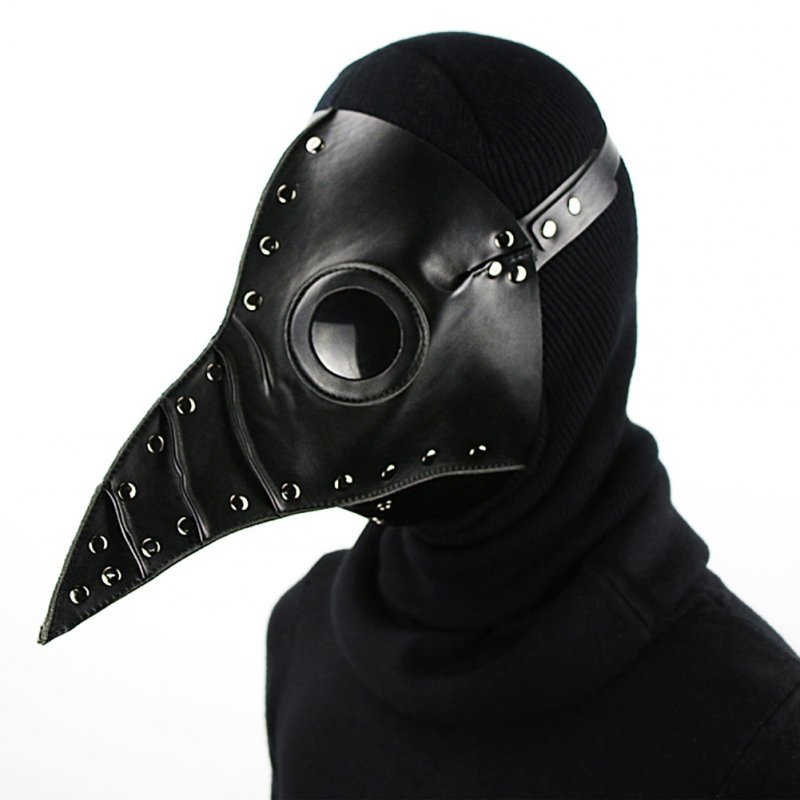 Halloween Party PU Long Beak Doctor Mask Cosplay Costume Prop Gift black