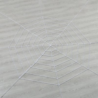 Halloween Props Large Simulation Spider & Spider Web Plush Bar Decoration Spoof Toys 5 circles 2.5 meters white 70g