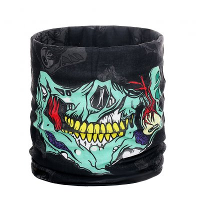 Halloween Props Mask Multi-function Seamless Headscarf Outdoor Sports Riding Mask Horror Skull Collar Colorful green_One size