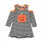 Halloween Pumpkin Decor Dress Bare Shoulder Long Sleeves Dress for Girls  Stripe CC01648 110 yards