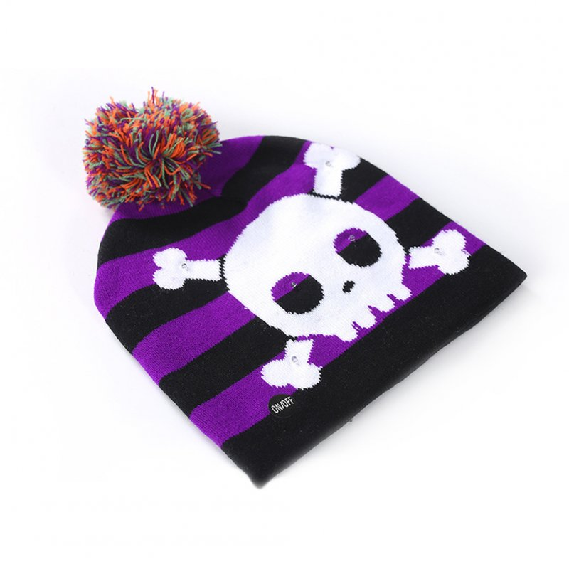 Halloween Pumpkin Ghost Knit Hat with Light Stretchable Unisex Adults Kids Children Purple_20*21CM