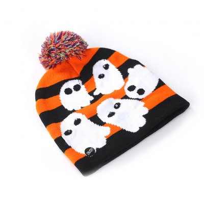 Halloween Pumpkin Ghost Knit Hat with Light Stretchable Unisex Adults Kids Children ghost_20*21CM