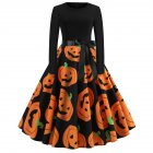 Halloween Pumpkin Print Dress with Long Sleeves and Belt JY13057 XL