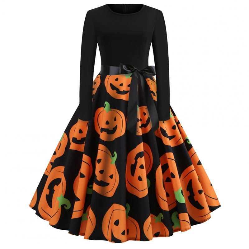 Halloween Pumpkin Print Dress with Long Sleeves and Belt JY13057_XL