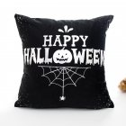 Halloween Series Hot Stamping Pattern Throw Pillow Cover Black bottom happy_45*45cm