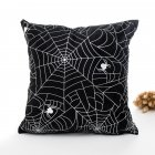 Halloween Series Hot Stamping Pattern Throw Pillow Cover Black bottom spider_45*45cm