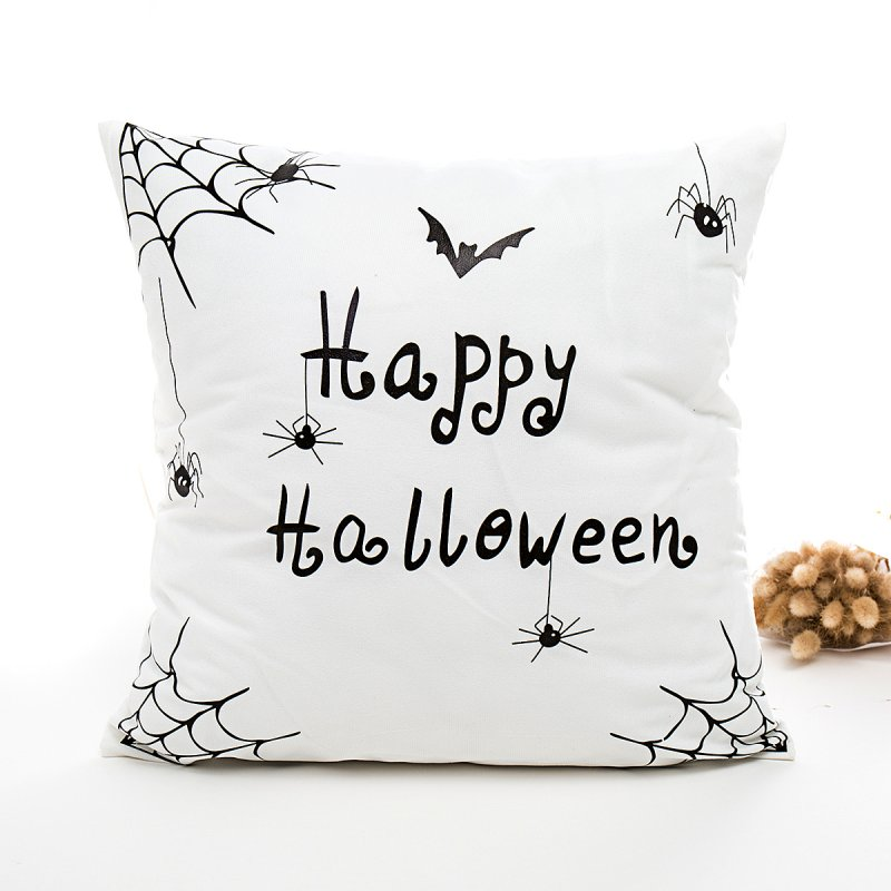 Halloween Series Hot Stamping Pattern Throw Pillow Cover White botom spider_45*45cm