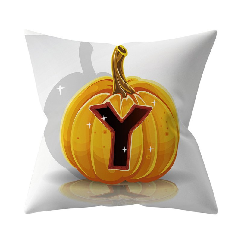 Halloween Series Letter Printing Throw Pillow Cover for Home Living Room Sofa Decor Y_45*45cm