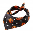 Halloween Series Printing Triangular Scarf for Pet Dogs Wear 05 black spotted pumpkin
