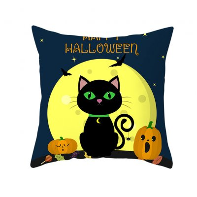Halloween Series Pumpkin/Black Cat Printing Throw Pillow Cover Decor for Home Party TPR181-26_45*45cm (without pillow)