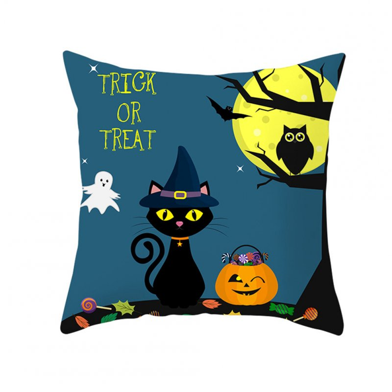 Halloween Series Pumpkin/Black Cat Printing Throw Pillow Cover Decor for Home Party TPR181-29_45*45cm (without pillow)