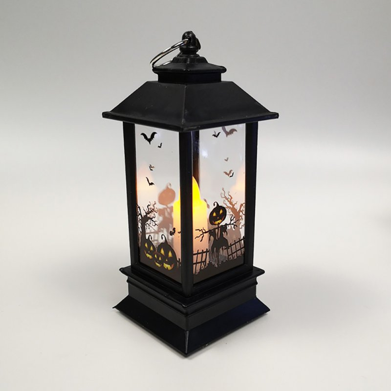 Halloween Simulation Flame Candle Light Portable LED Small Night Lighthouse Decorative Props Candle pumpkin pattern