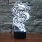 Halloween Skull 3D Visual Illusion Lamp Transparent Acrylic Night Light LED Lamp 7 Color Changing Touch Table Lamp  Multicolor
