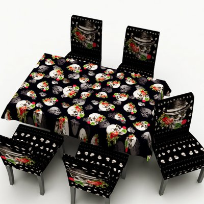 Astonishing Halloween Skull Pattern Printed Stretch Chair Cover Rectangle Table Cover For Home Dining Table Decor Tablecloth 140 140Cm Caraccident5 Cool Chair Designs And Ideas Caraccident5Info