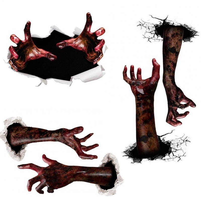 Haunted House Blooding Handprint Devil Window Decals Halloween Wall Sticker