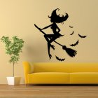 Halloween Wall Sticker Bat Witch Broom Wall Decoration