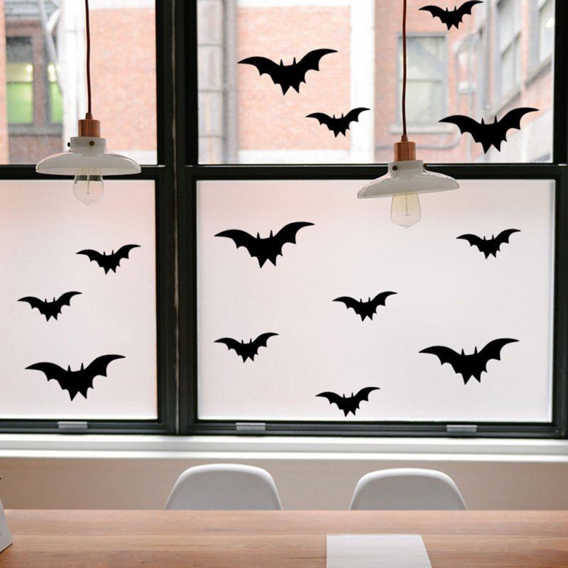 Halloween Wall Stickers Bat Pattern Living Room Bedroom Background Party Decoration Typesetting 19*20.5cm