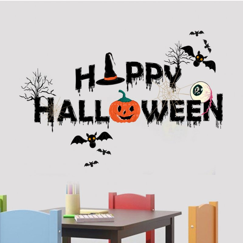 Halloween Wall Stickers Pumpkin Spider Web Bat Pattern Decals for Children Bedroom Kindergarten Decor AFH1109 18X43cm