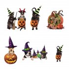 Halloween Window Stickers Cute Hat Pet Pattern Window Wall Decor for Home 40*60CM typesetting