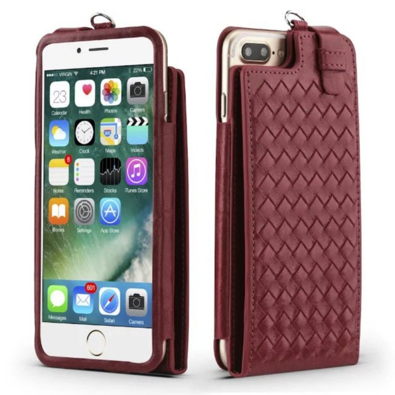 Hand-Knitted Pu Leather Multifunction Wallet Stand Case Flip Folio Kickstand Lanyard Sleeve Mobile Phone Case and Cover with Card Holder for Iphone6, Iphone6s