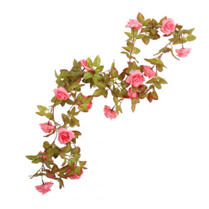 Hand-made Artificial Silk Rose Vines Decorative Fake Rose Flower for Home Wall Garden  Rose Pink