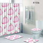 Hand-painted Elements Pattern Shower Curtain Mat U Shaped Toilet Rug O Shaped Toilet Cover