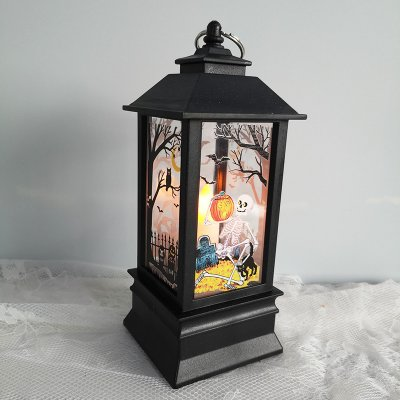 Handheld Kerosene Lamps Halloween Party Decorative Night Light Skeleton Queen Lighthouse Candle