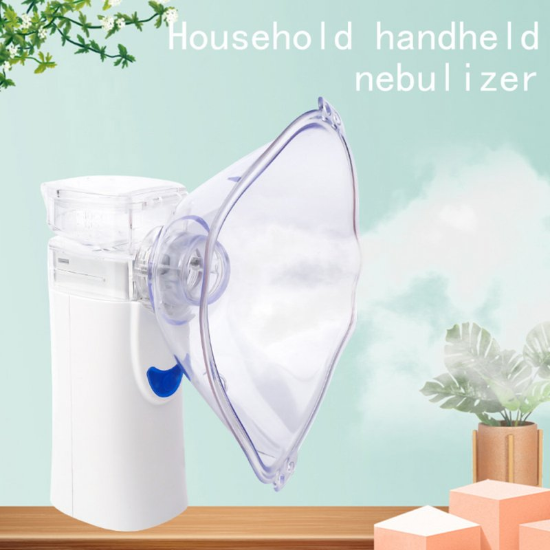 Handheld Nebulizer Ultrasonic Steaming Devices Atomizer Inhalator For Adults Kids Mini Portable Nebulizador White Blue English Version