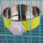 Hang-on Pet Dog Cat Bowl Food Water Dish Feeder Stainless Steel Bowl  green_large