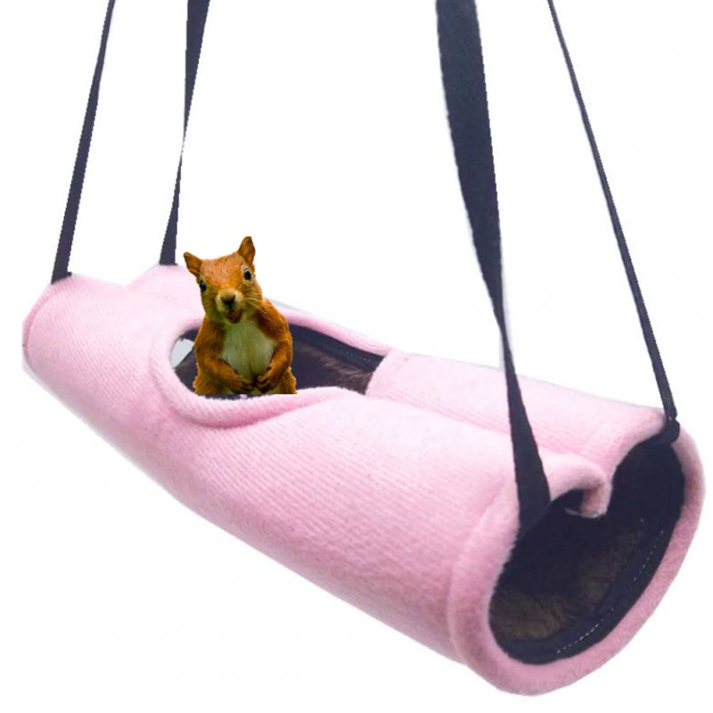 Hanging Hammock Tunnel Toy for Pet Squirrel Hamster Sleeping Nest Pink