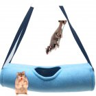 Hanging Hammock Tunnel Toy for Pet Squirrel Hamster Sleeping Nest blue