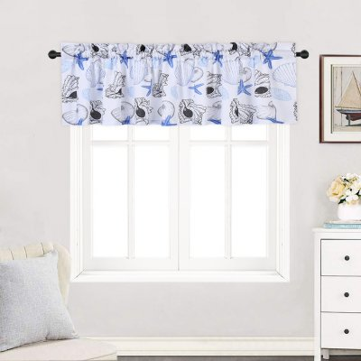 Haperlare 2pcs Window Tiers Waterproof Polyester Starfish Print Small Curtains Set For Kitchen Living Room Etc