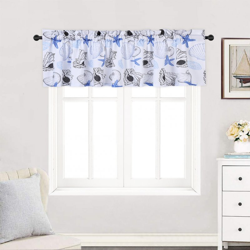 Haperlare 2PCS Window Tiers Waterproof Polyester Starfish Print Small Window Curtains Set For Kitchen, Living Room, etc